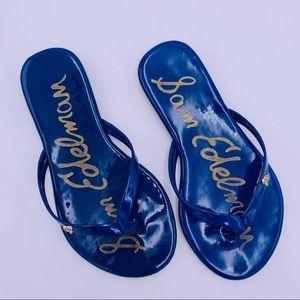 Kids Sam Edelman Patent Blue Flip Flops